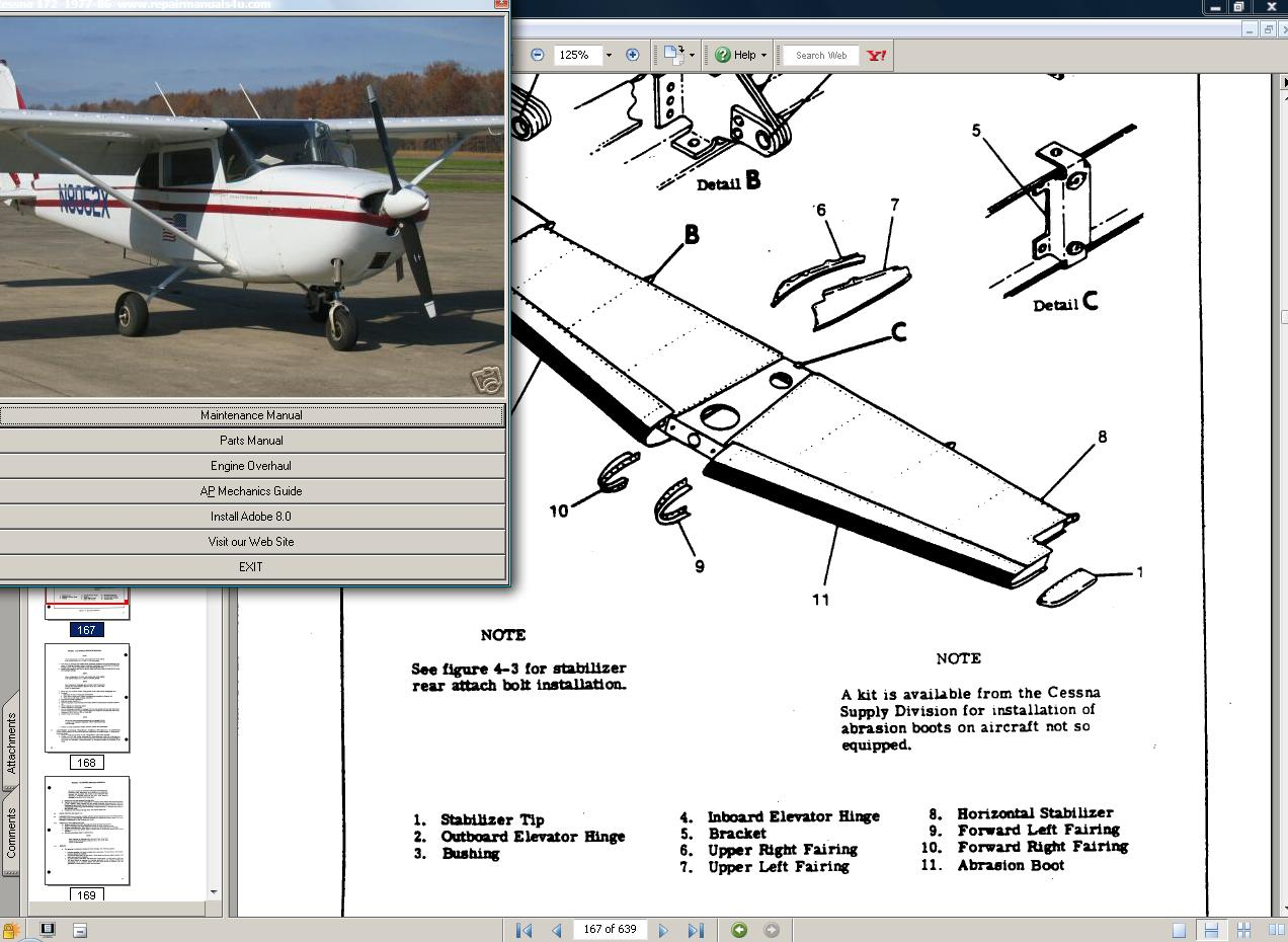 Thumbnail Cessna 175 skylark service parts owners manual set