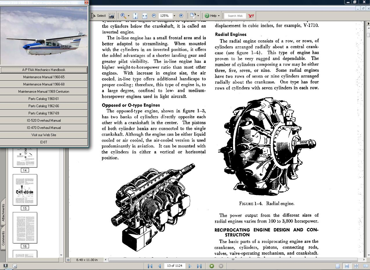 Thumbnail Cessna 210  manual set + engine 1960 - 69